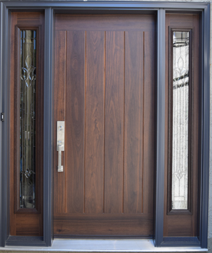 Masonite oak wood-grain fiberglass door with sidelites.